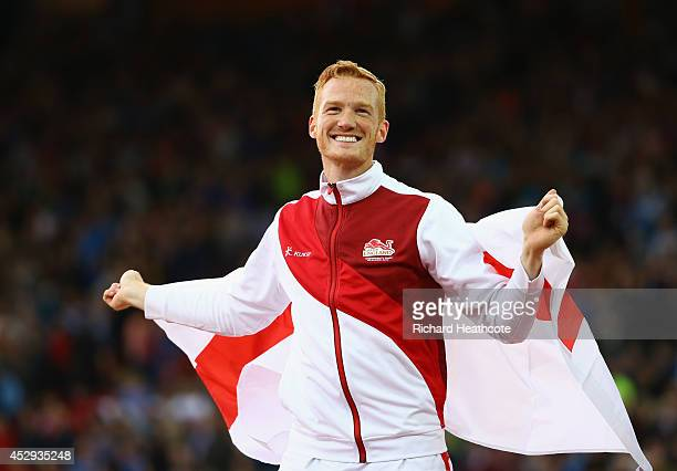 Gold medalist Greg Rutherford of England celebrates after the Men's Long Jump Final at Hampden Park during day seven of the Glasgow 2014 Commonwealth...