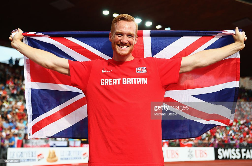 Gold medalist Greg Rutherford of Great Britain and Northern Ireland celebrates after the Men's Long Jump final during day six of the 22nd European Athletics Championships at Stadium Letzigrund on August 17, 2014 in Zurich, Switzerland.