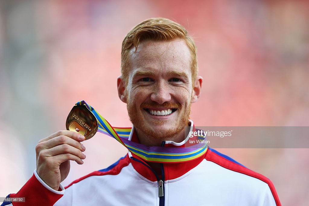 Gold medalist Greg Rutherford of Great Britain and Northern Ireland poses during the medal ceremony for the Men's Long Jump final during day six of the 22nd European Athletics Championships at Stadium Letzigrund on August 17, 2014 in Zurich, Switzerland.