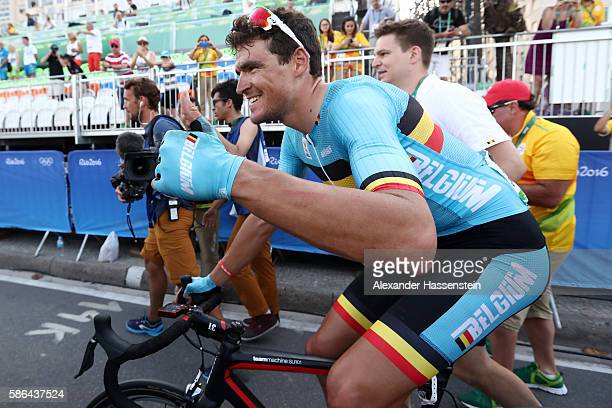 Gold medalist Greg van Avermaet of Belgium celebrates after the Men's Road Race on Day 1 of the Rio 2016 Olympic Games at the Fort Copacabana on...