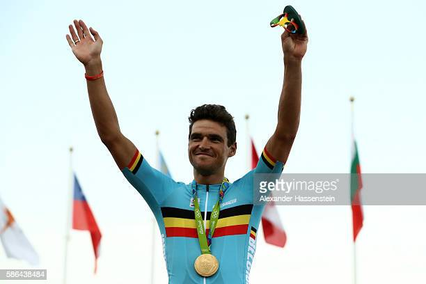 Gold medalist Greg van Avermaet of Belgium celebrates at the medal ceremony for the Men's Road Race on Day 1 of the Rio 2016 Olympic Games at the...