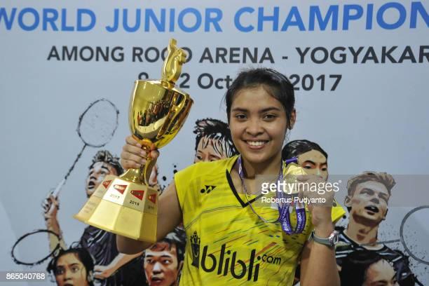 Gold medalist Gregoria Mariska Tunjung of Indonesia celebrates on the podium during Women's Singles awarding ceremony of the BWF World Junior...