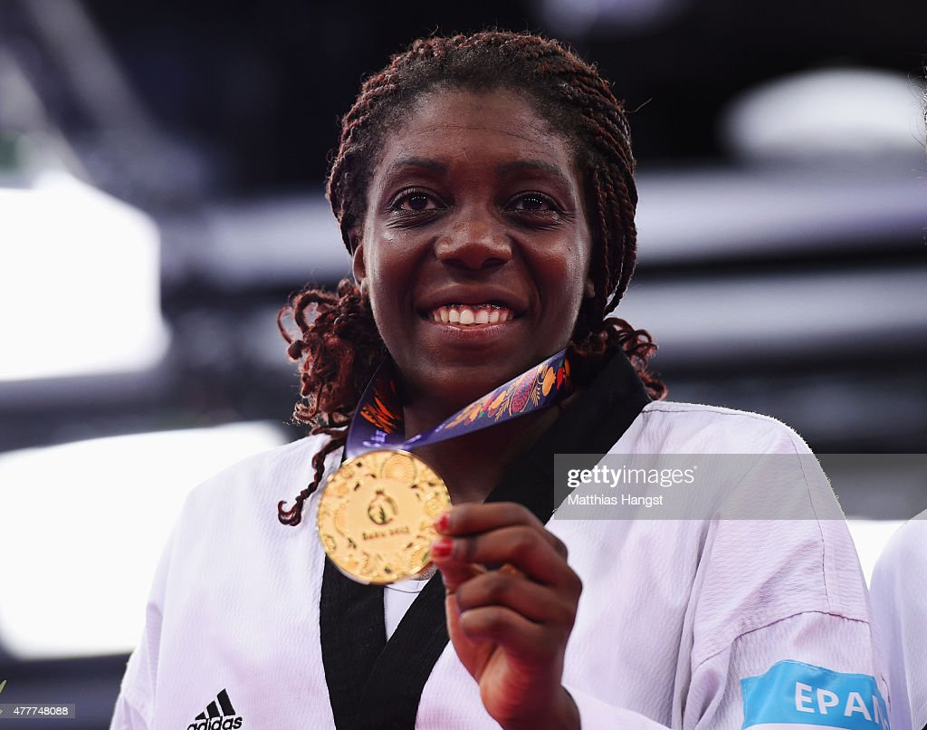Gold medalist Gwladys Epangue of France poses during the medal ceremony for the Women's +67kg Taekwondo on day seven of the Baku 2015 European Games at the Crystal Hall on June 19, 2015 in Baku, Azerbaijan.