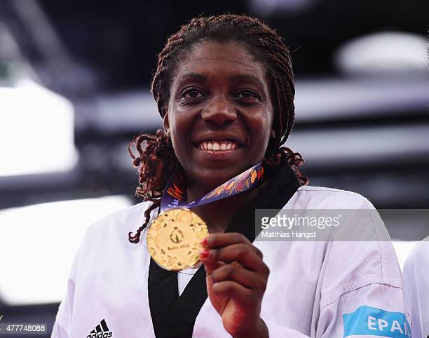 Gold medalist Gwladys Epangue of France poses during the medal ceremony for the Women's 67kg Taekwondo on day seven of the Baku 2015 European Games...