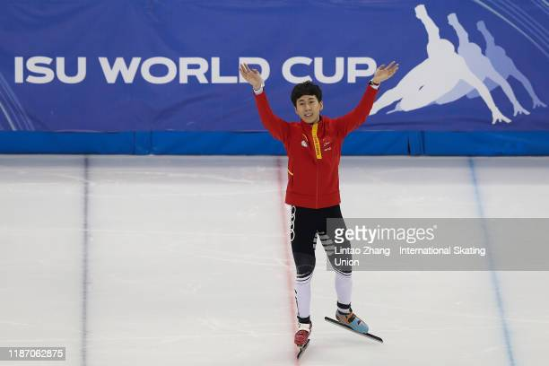 Gold medalist Han Tianyu of China celebrates during the medal ceremony after winning the Men's 1000m of ISU World Cup Short Track 2019/20 at the...