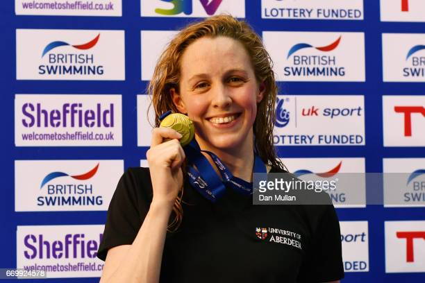 Gold medalist Hannah Miley of Aberdeen Per poses with the medal won in the Womens Open 400m IM final on day one of the British Swimming Championships...