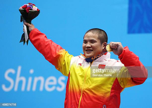 Gold medalist, Hao Lui of China celebrates following the Men's 94kg Weightlifting Final during day six of the 2014 Asian Games at Moonlight Festival...