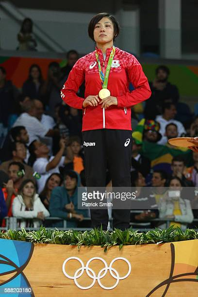 Gold medalist Haruka Tachimoto of Japan stands on the podium during the medal ceremeny for the Women's 70kg Judo on Day 5 of the Rio 2016 Olympic...