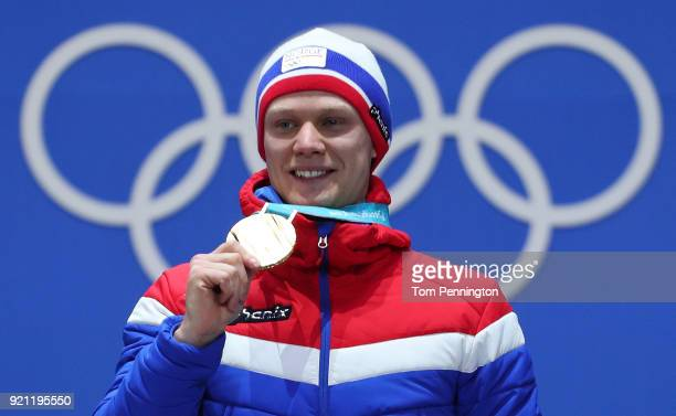 Gold medalist Havard Lorentzen of Norway celebrates during the medal ceremony for Speed Skating Men's 500m on day 11 of the PyeongChang 2018 Winter...