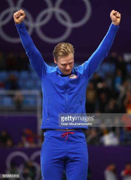 Gold medalist Havard Lorentzen of Norway celebrates during the victory ceremony after the Men's 500m Speed Skating on day 10 of the PyeongChang 2018...