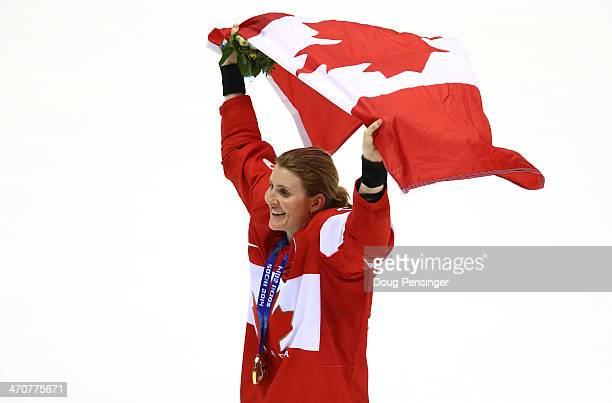 Gold medalist Hayley Wickenheiser of Canada celebrates after defeating the United States 32 in overtime during the Ice Hockey Women's Gold Medal Game...