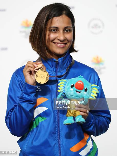 Gold medalist Heena Sidhu of India poses during the medal ceremony for the women's 25m pistol during Shooting on day six of the Gold Coast 2018...
