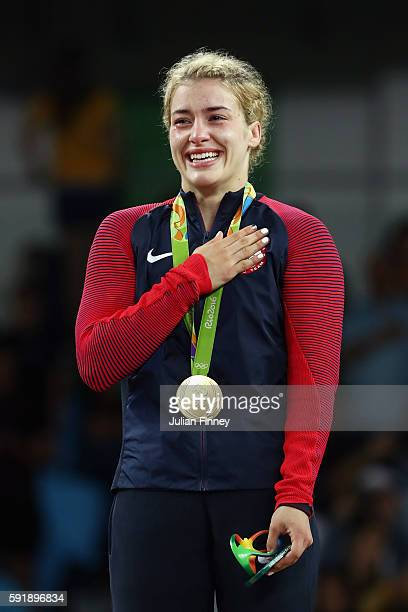 Gold medalist Helen Louise Maroulis of the United States celebrates during the medal ceremony after the Women's Freestyle 53 kg competition on Day 13...