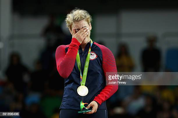 Gold medalist Helen Louise Maroulis of the United States reacts during the medal ceremony after the Women's Freestyle 53 kg competition on Day 13 of...