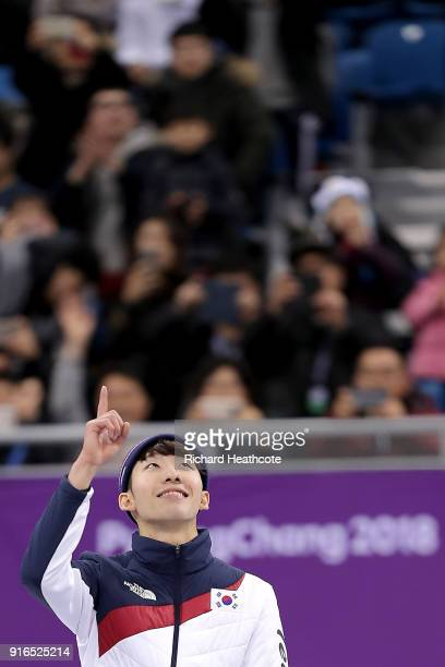 Gold medalist Hyojun Lim of Korea celebrates during the victory ceremony after the Men's 1500m Short Track Speed Skating final on day one of the...