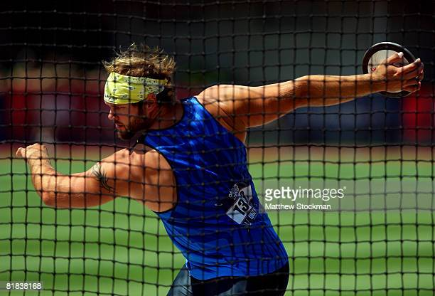 Gold medalist Ian Waltz competes in the men's discus throw final during day eight of the US Track and Field Olympic Trials at Hayward Field on July 6...