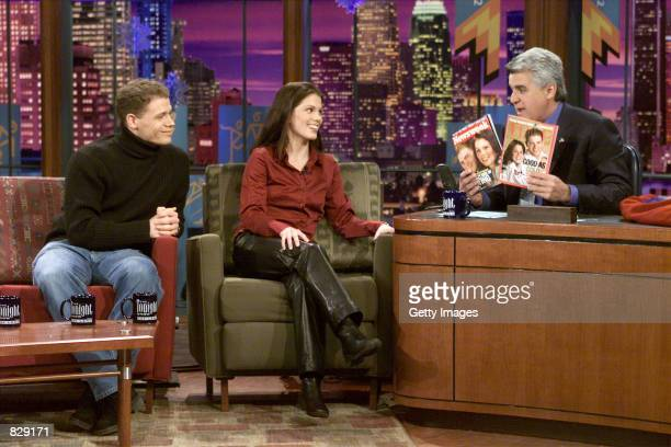Gold medalist ice skating pair David Pelletier and Jamie Sale talk with host Jay Leno on 'The Tonight Show With Jay Leno' February 18 2002 in Burbank...