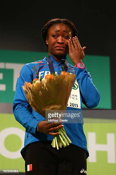 Gold medalist Ida Antoinette Nana Djimou of France during the victory ceremony for the Women's Pentathlon during day one of the European Athletics...