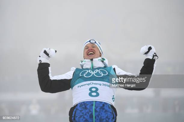 Gold medalist Iivo Niskanen of Finland celebrates during the victory ceremony after the Men's 50km Mass Start Classic on day 15 of the PyeongChang...