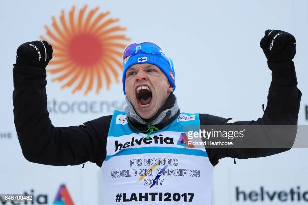 Gold medalist Iivo Niskanen of Finland celebrates following his victory in the Men's 15KM Cross Country during the FIS Nordic World Ski Championships...