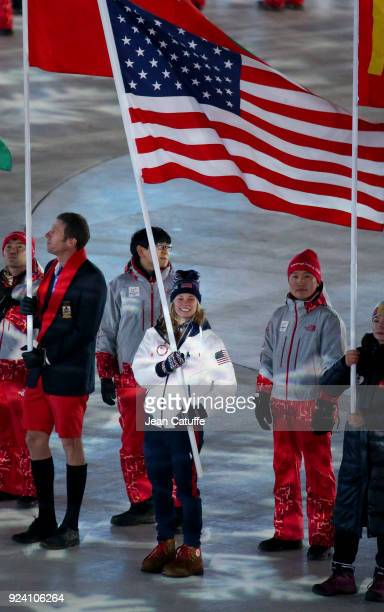 Gold medalist in crosscountry skiing Jessie Diggins is the flag bearer for USA during the closing ceremony of the 2018 PyeongChang Winter Olympic...