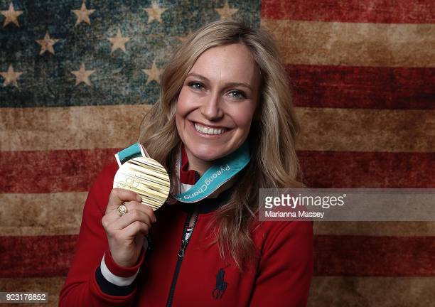 Gold medalist in Ladies' Snowboard Slopestyle Jamie Anderson of the United States poses for a portrait on the Today Show Set on February 12, 2018 in...