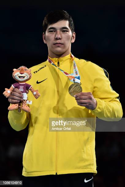 Gold medalist in Men's Heavy Gold Medal Bout Aibek Oralbay celebrates in the podium during day 11 of Buenos Aires 2018 youth Olympic Games at Oceania...