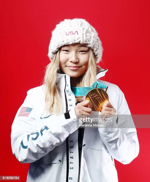 Gold medalist in Snowboard Ladies' Halfpipe Chloe Kim of the United States poses for a portrait on the Today Show Set on February 13 2018 in...