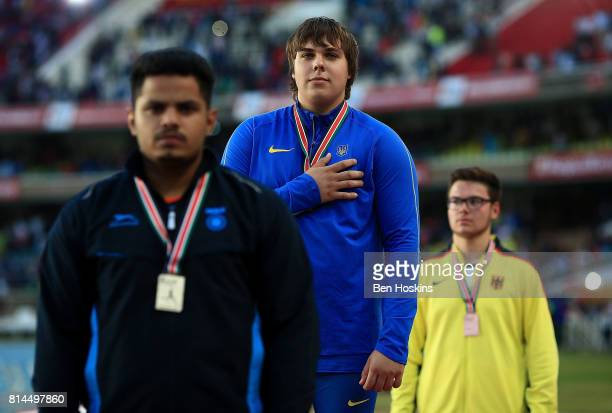 Gold medalist in the boys hammer Mykhaylo Kokhan of Ukraine with his medal on day three of the IAAF U18 World Championships at the Kasarani Stadium...