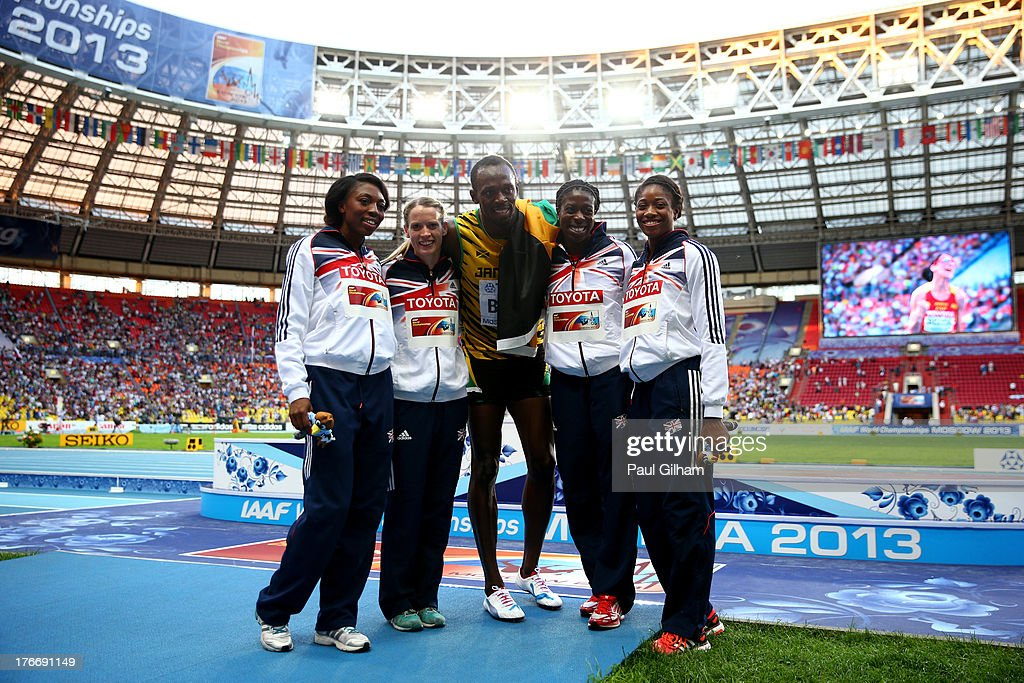 Gold medalist in the Men's 200 metres Usain Bolt of Jamaica (C) poses with Bronze medalists in the 4x400 metres Women's relay (L-R) Margaret Adeoye, Eilidh Child, Christine Ohuruogu and Shana Cox of Great Britain during Day Eight of the 14th IAAF World Athletics Championships Moscow 2013 at Luzhniki Stadium on August 17, 2013 in Moscow, Russia.