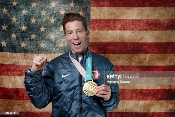 Gold medalist in the Men's Snowboard Halfpipe Shaun White of the United States poses for a portrait on the Today Show Set on February 14 2018 in...