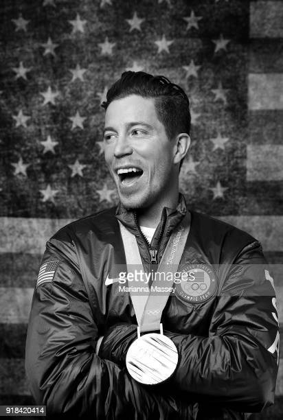 Gold medalist in the Men's Snowboard Halfpipe Shaun White of the United States poses for a portrait on the Today Show Set on February 14, 2018 in...