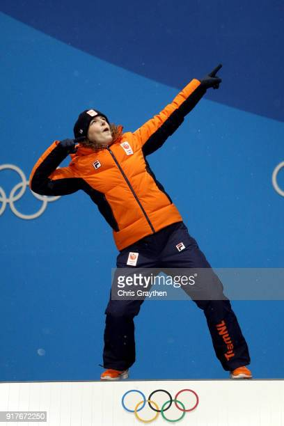 Gold medalist Ireen Wust of the Netherlandsposes during the Medal Ceremony for the Ladies 1500m Long Track Speed Skating on day four of the...