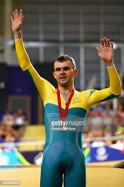 Gold medalist Jack Bobridge of Australia on the podium during the medal ceremony for the Men's 4000m Individual Pursuit Finals at Sir Chris Hoy...