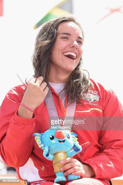 Gold medalist Jade Jones of England celebrates during medal ceremony of the Triathlon Women's PTWC Final on day three of the Gold Coast 2018...