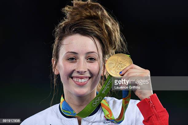 Gold medalist, Jade Jones of Great Britain celebrates after defeating Eva Calvo Gomez of Spain during the Women's -57kg Gold Medal Taekwondo contest...