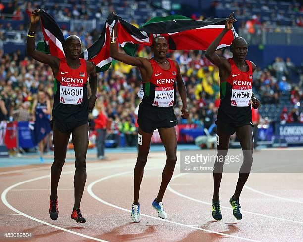 Gold medalist James Kiplagat Magut of Kenya, Elijah Motonei Manangoi of Kenya and slver medalist Ronald Kwemoi of Kenya celebrate after the Men's...