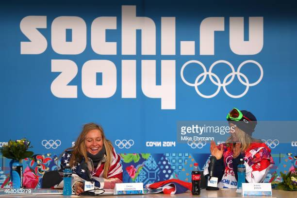 Gold medalist Jamie Anderson of the United States and bronze medalist Jenny Jones of Great Britain attend a press conference following the Women's...