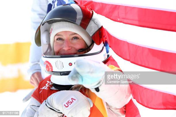 Gold medalist Jamie Anderson of the United States celebrates during the victory ceremony for the Snowboard Ladies' Slopestyle Final on day three of...
