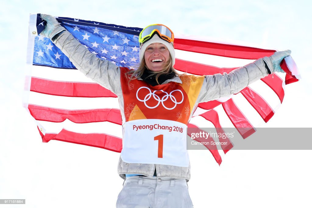 Gold medalist Jamie Anderson of the United States poses ...
