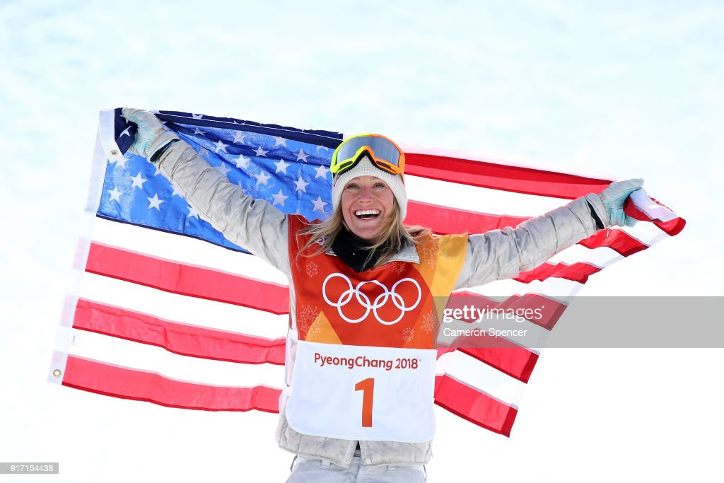 Gold medalist Jamie Anderson of the United States poses during the victory ceremony for the Snowboard Ladies' Slopestyle Final on day three of the PyeongChang 2018 Winter Olympic Games at Phoenix Snow Park on February 12, 2018 in Pyeongchang-gun, South Korea.