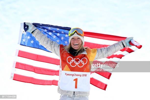 Gold medalist Jamie Anderson of the United States poses during the victory ceremony for the Snowboard Ladies' Slopestyle Final on day three of the...