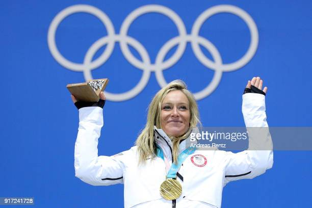 Gold medalist Jamie Anderson of the United States poses during the medal ceremony for Snowboard Ladies' Slopestyle at Medal Plaza on February 12 2018...