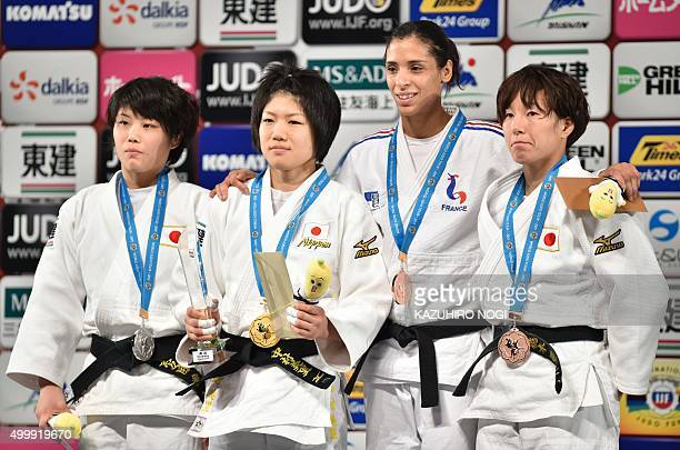 Gold medalist Japan's Misato Nakamura silver medalist Japan's Ai Shishime and bronze medalists France's Annabelle Euranie and Japan's Yuki Hashimoto...