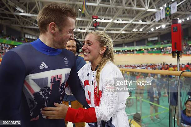 Gold medalist Jason Kenny of Great Britain celebrates with girlfriend gold medalist Laura Trott of Great Britain after the Men's Keirin Finals race...