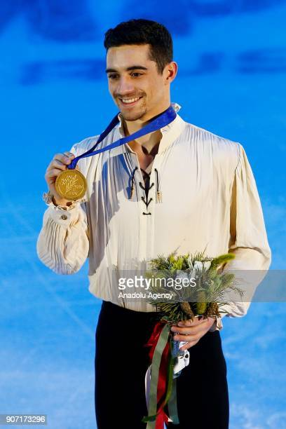 Gold Medalist Javier Fernandez of Spain poses for a photo with his medal after celebration ceremony of the Man Free Skating during the ISU European...