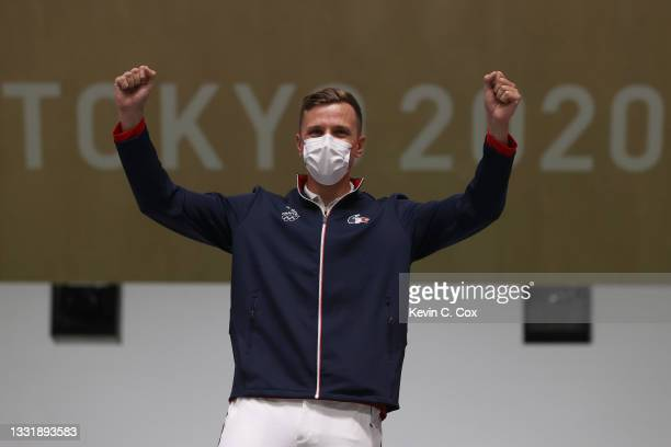 Gold Medalist Jean Quiquampoix of Team France during the medal ceremony following the 25m Rapid Fire Pistol Men's Finals on day ten of the Tokyo 2020...