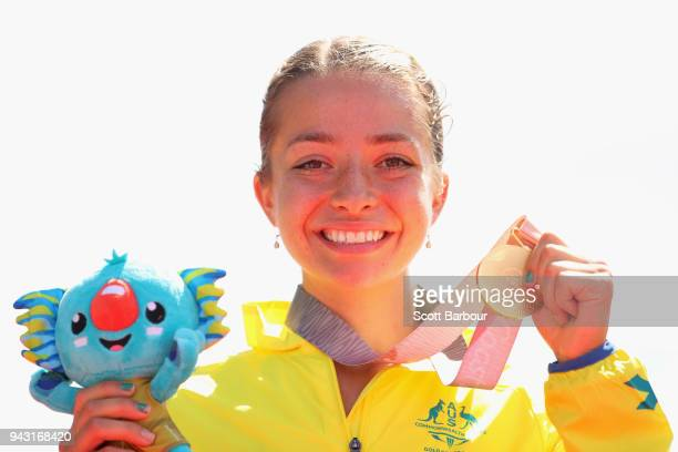 Gold medalist Jemima Montag of Australia celebrates during the medal ceremony for the Women's 20km Race Walk Final on day four of the Gold Coast 2018...