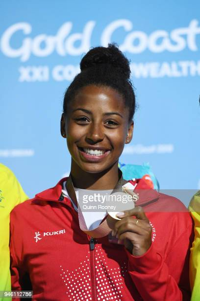 Gold medalist Jennifer Abel of Canada poses during the medal ceremony for the Women's 3m Springboard Diving Final on day 10 of the Gold Coast 2018...