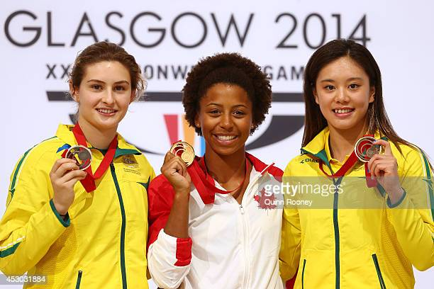Gold medalist Jennifer Abel of Canada poses with Silver medalist Maddison Keeney of Australia and bronze medalist Esther Qin of Australia during the...